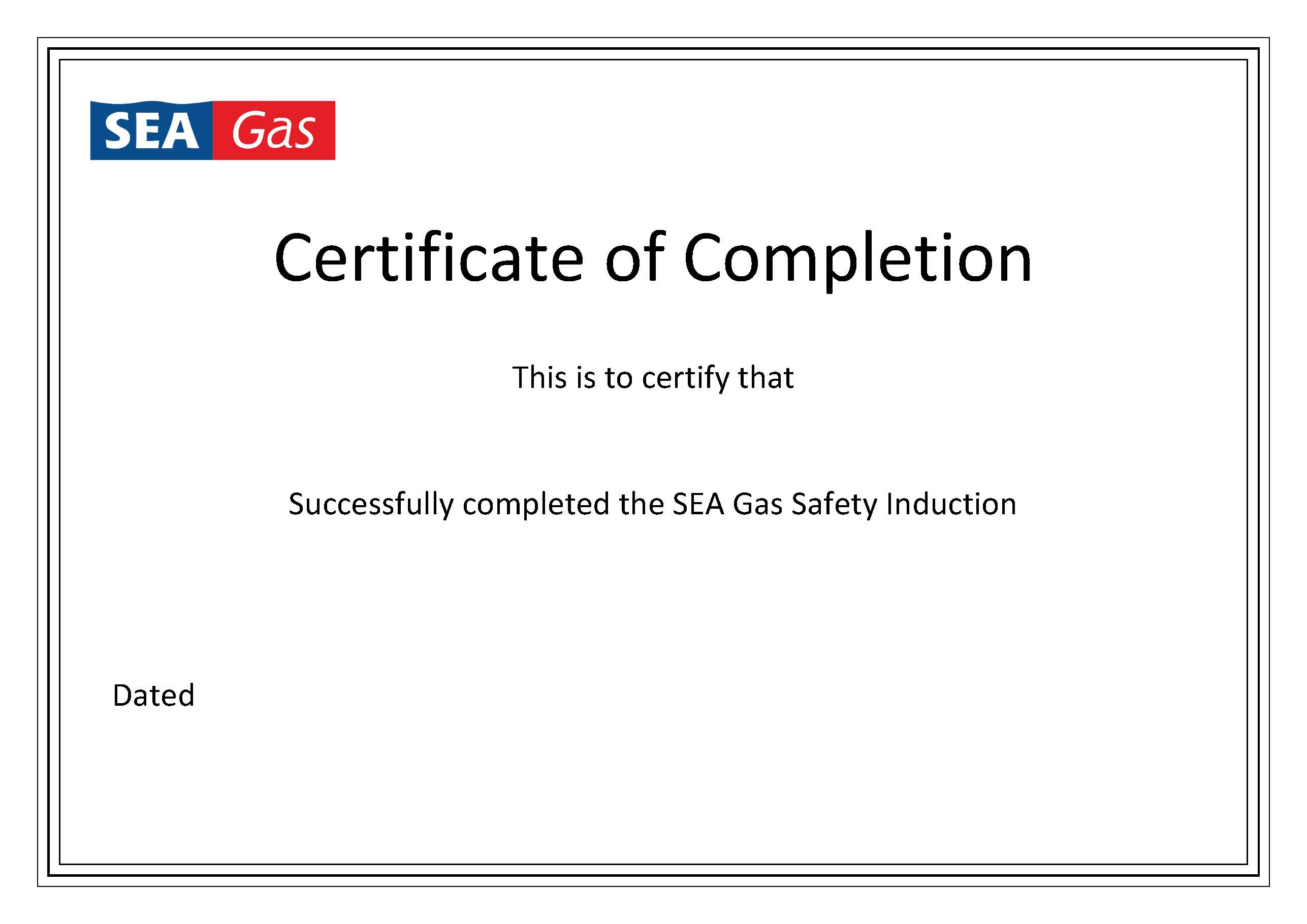 Certificate of Completion Template | SEA Gas